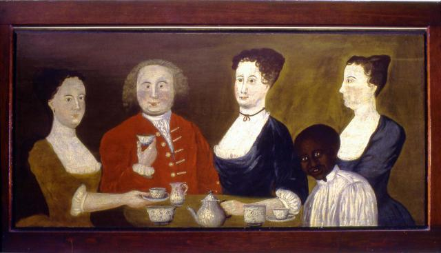 "Potter Overmantle, c. 1749, oil on pine, 31"" x 64""."